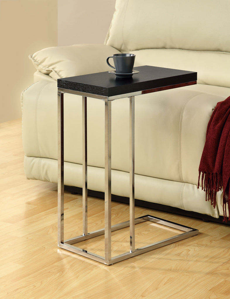 Monarch Specialties Chrome Metal and Cappuccino Hollow Core Accent Side Table - Harvey & Haley