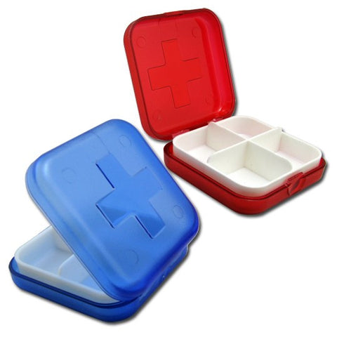 Pocket Pill Box with 4 Compartments-Color Red - Harvey & Haley  - 1