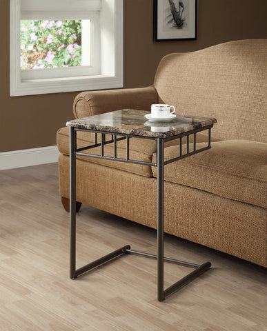 Monarch Specialties Bronze Metal and Cappuccino Marble Snack/End Table - Harvey & Haley