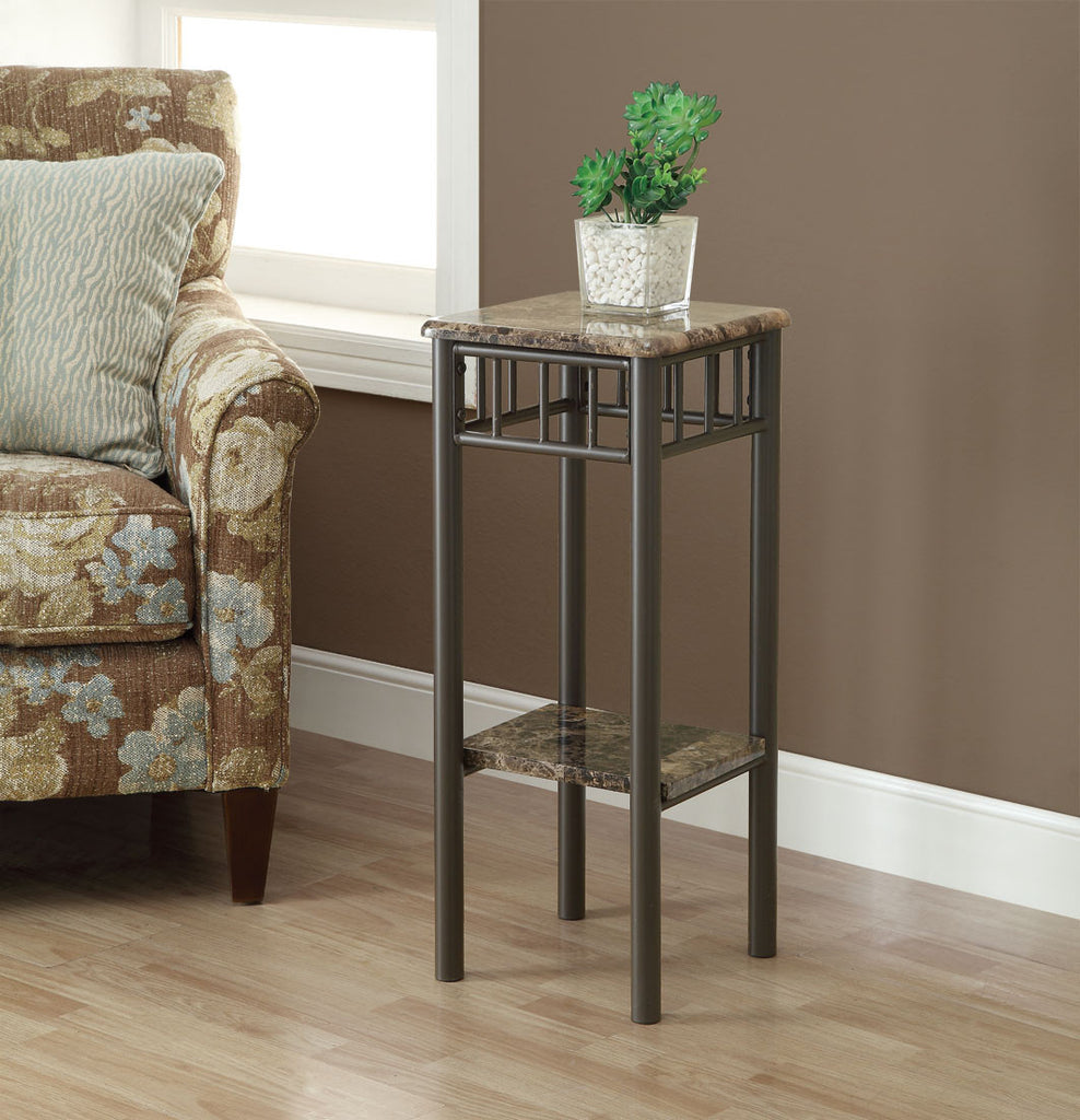 Monarch Specialties Bronze Metal and Cappuccino Marble Plant Stand - Harvey & Haley