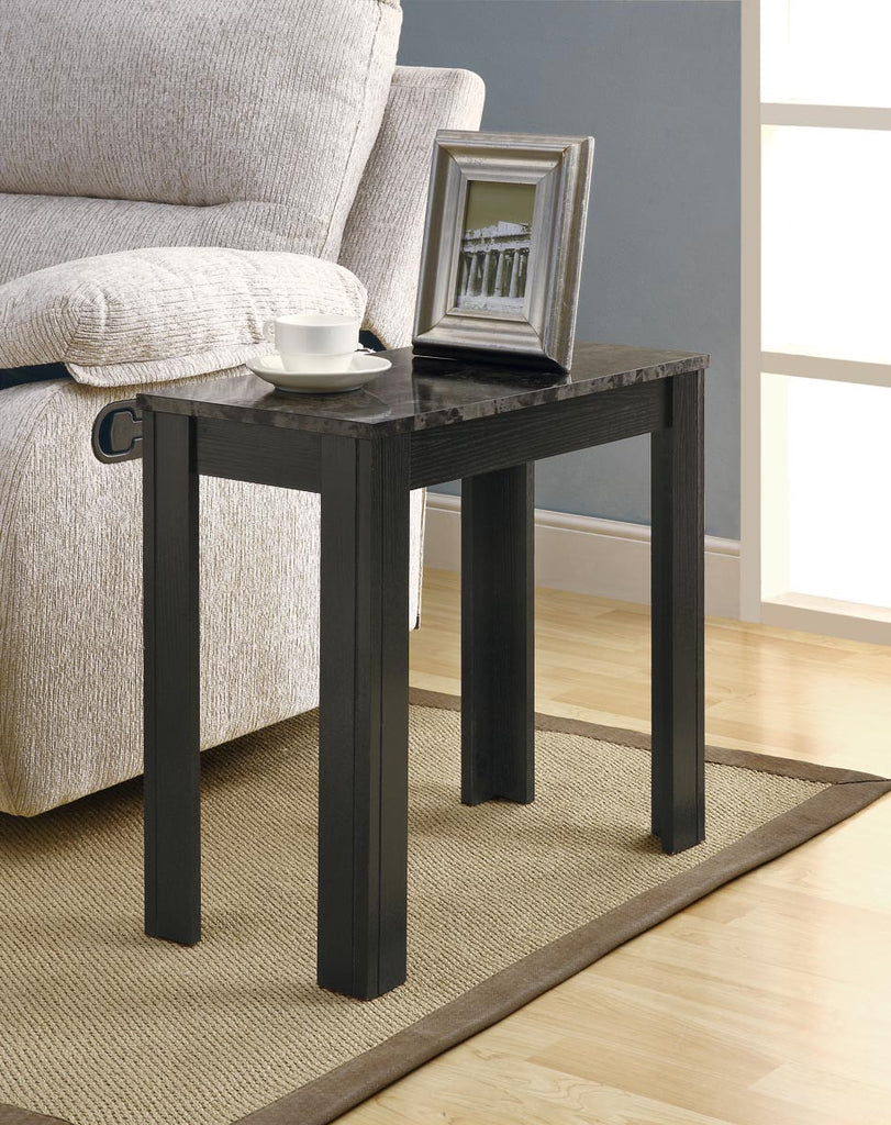 Monarch Specialties Black and Gray Marble Accent Side Table - Harvey & Haley