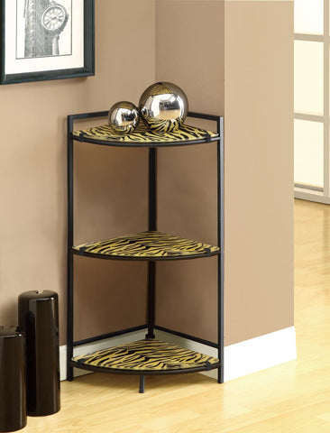 "Black Metal 30""H Accent Table with Tiger Tempered Glass - Harvey & Haley"