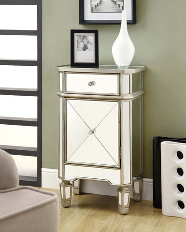 Monarch Specialties 1-Drawer Accent Cabinet, Mirrored - Harvey & Haley