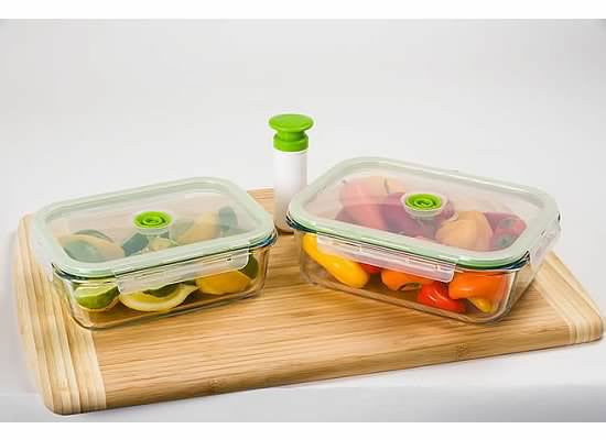 5-pc Glass Vacuum Glass Food Storage Containers, Rectangle - Harvey & Haley