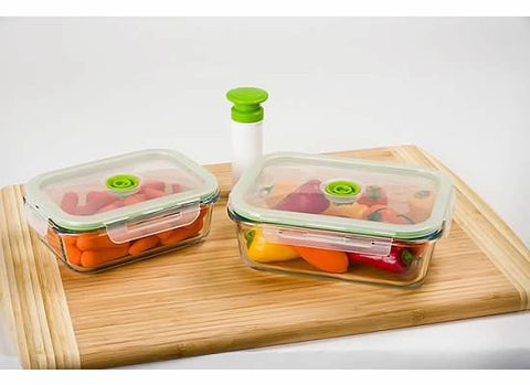 5-pc Glass Vacuum Food Storage Containers, Rectangle - Harvey & Haley