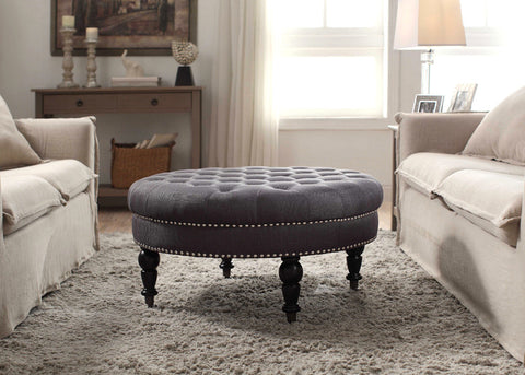 Linon Isabelle Charcoal Round Tufted Ottoman - Harvey & Haley  - 1