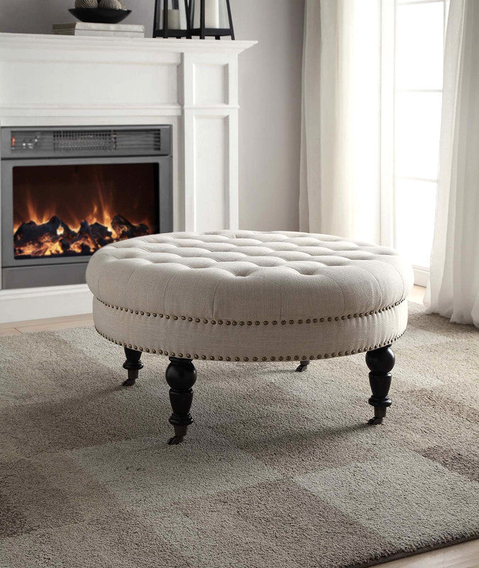 Linon Isabelle Natural Round Tufted Ottoman - Harvey & Haley  - 1