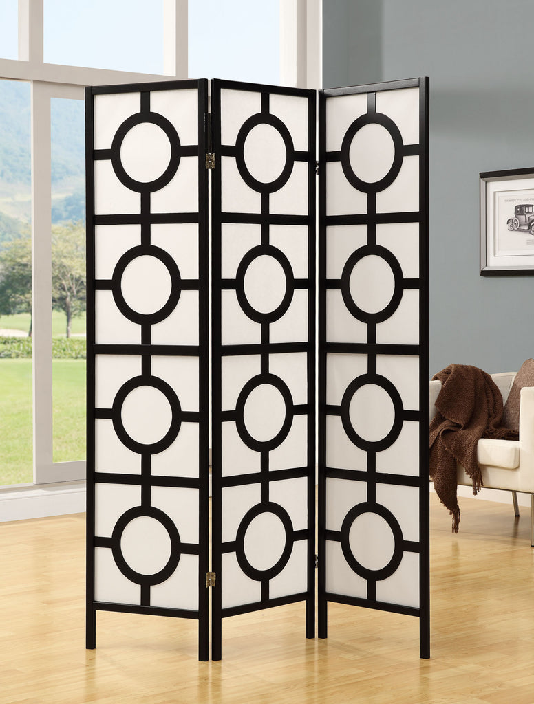 Monarch Specialties Frame 3-Panel Circle Design Folding Screen, Black - Harvey & Haley