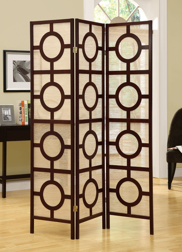 Monarch Specialties Frame 3-Panel Circle Design Folding Screen, Cappuccino] - Harvey & Haley