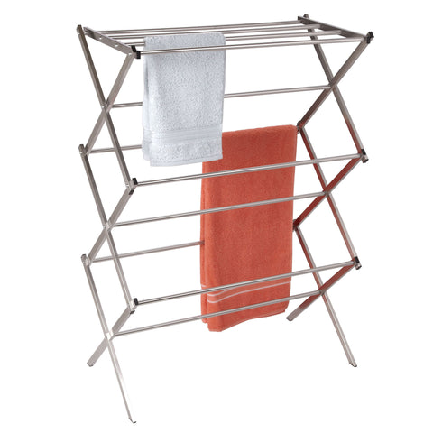 Folding X-Frame Clothes Dryer, Stainless, Steel - Harvey & Haley  - 2