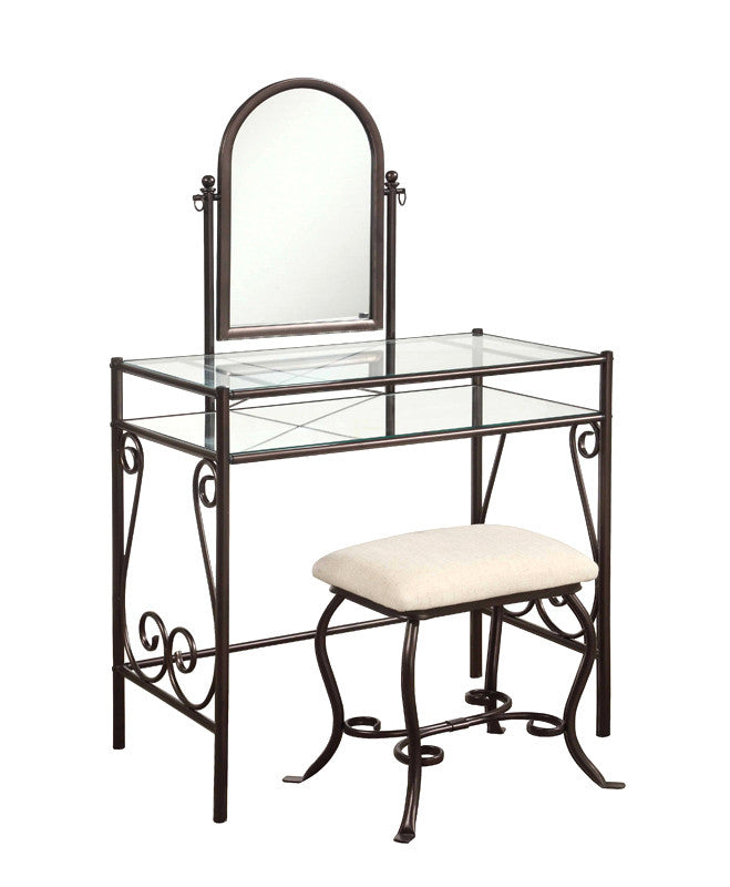Linon Clarisse Metal Vanity Set - Harvey & Haley