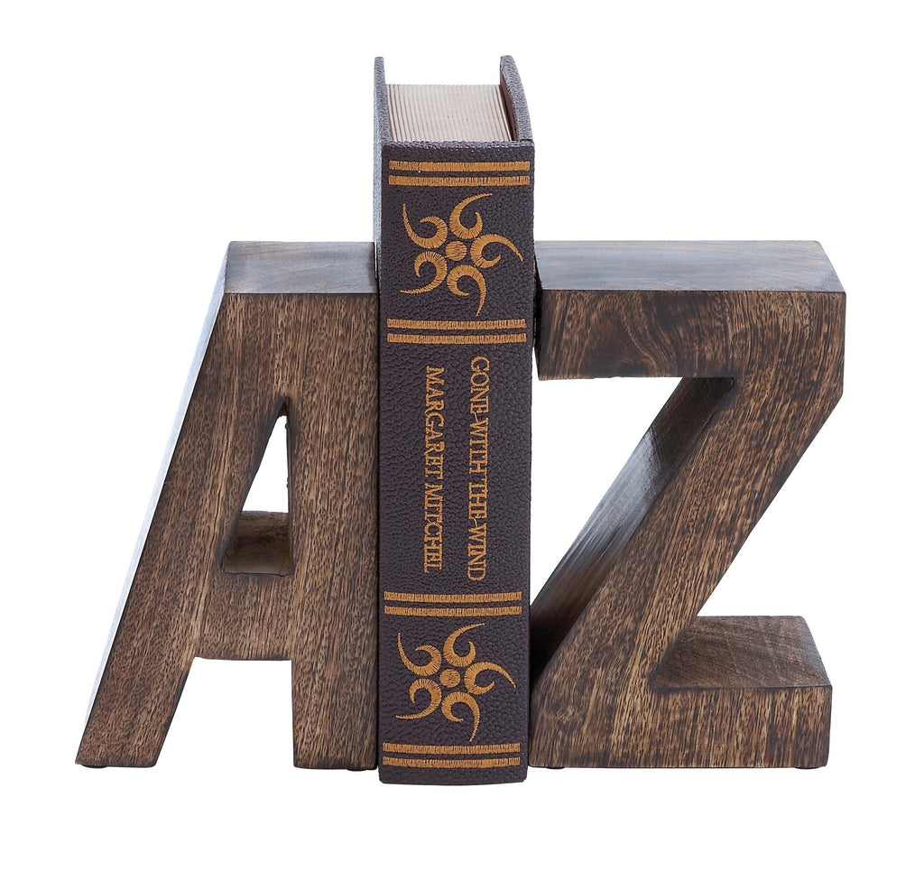 Wood Book End Pair with Wood Grain Design - Harvey & Haley