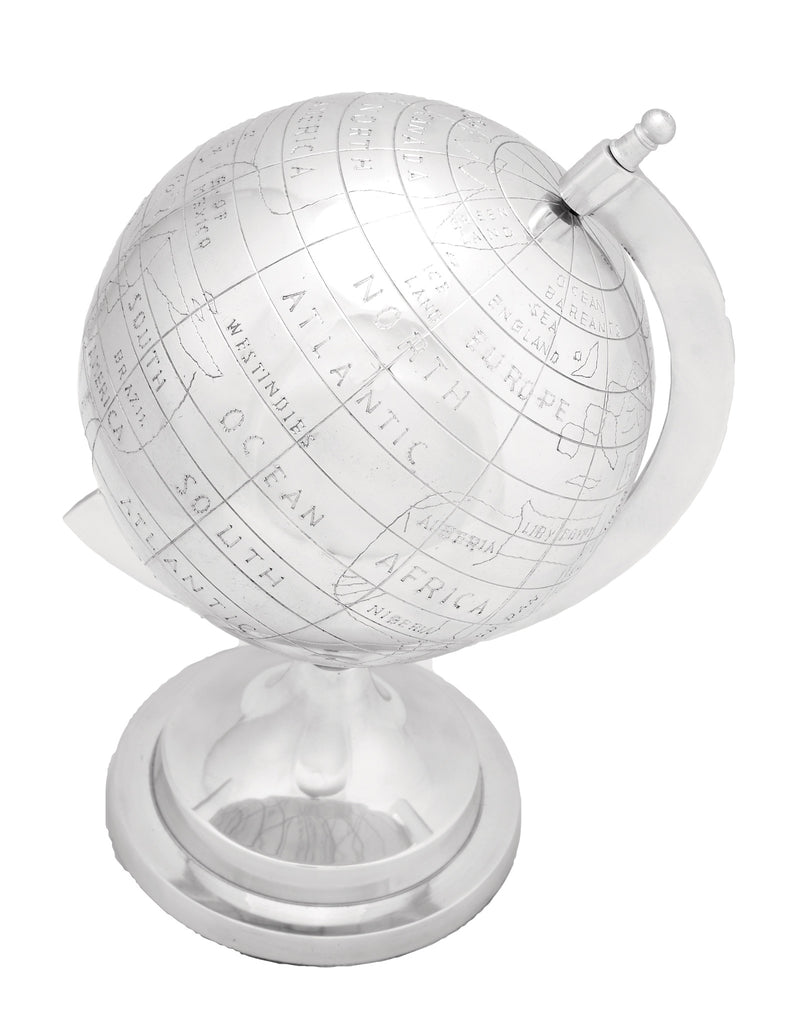 Globe in Silver Finish with Intricate Detail Work - Harvey & Haley