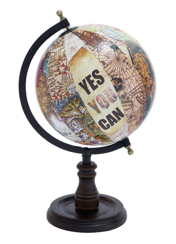 Wood Globe with Sturdy Base And Printed Graphics - Harvey & Haley