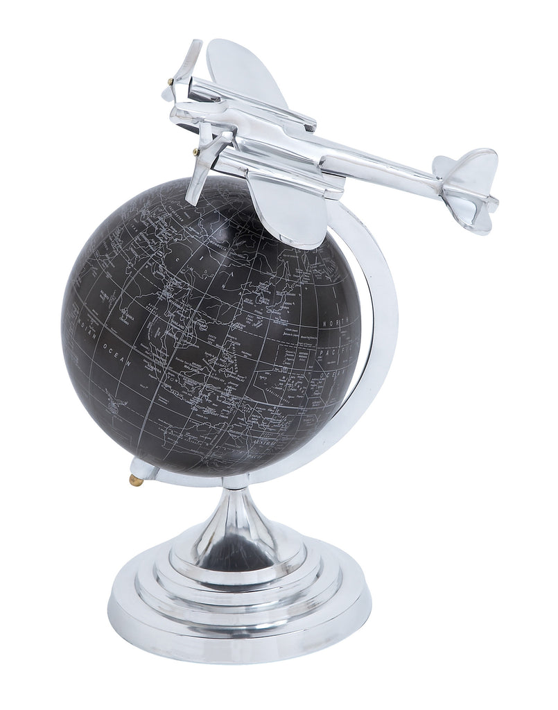 Globe with Matte Black Background and White Mapping - Harvey & Haley