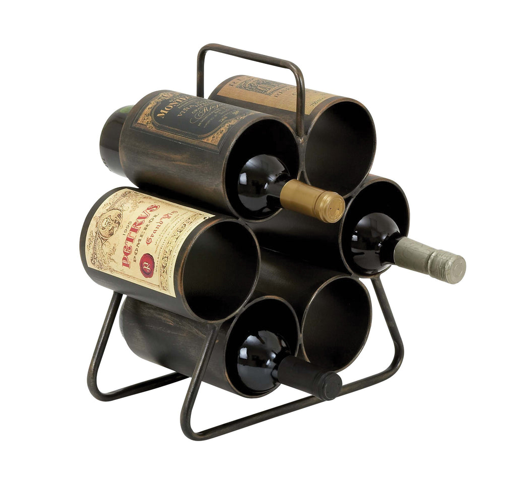 Wine Rack for Six Bottles with Space Saving Design - Harvey & Haley