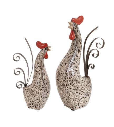 Ceramic Metal Rooster with Spotted Black Pattern - Set of 2 - Harvey & Haley