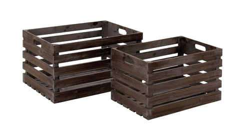 Style Wood Wine Crate Crafted From Solid Wood - Set of 2 - Harvey & Haley