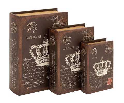 Book Box with An Antiqued Brown Finish - Set of 3 - Harvey & Haley