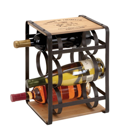 Wine Holder in Brown Colored Metal Frame - Harvey & Haley
