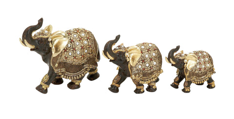 Polystone Elephant with Intricate Detailing - Set of 3 - Harvey & Haley