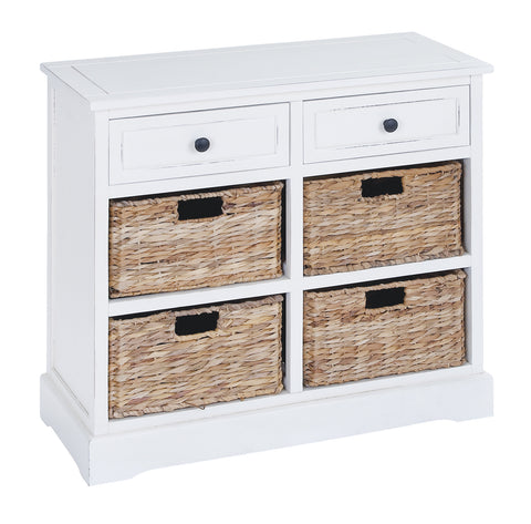 Basket Cabinet with Fine Detailing in Exclusive White Color - Harvey & Haley