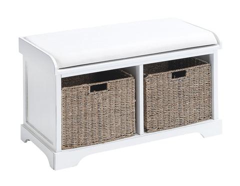 Wood Basket Bench with Huge Storage Capacity in White Color - Harvey & Haley