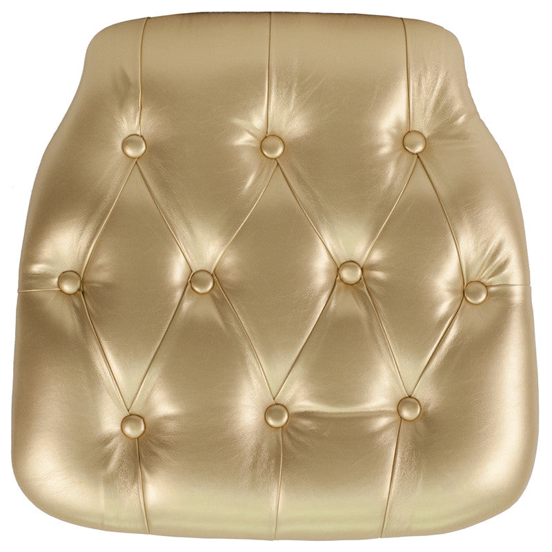 Hard Gold Tufted Vinyl Chiavari Chair Cushion - Harvey & Haley