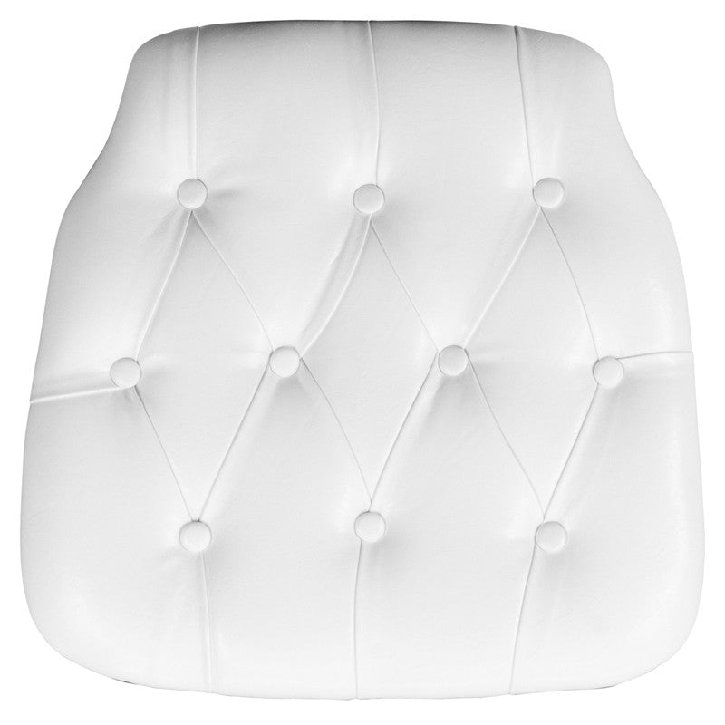 Hard White Tufted Vinyl Chiavari Chair Cushion - Harvey & Haley
