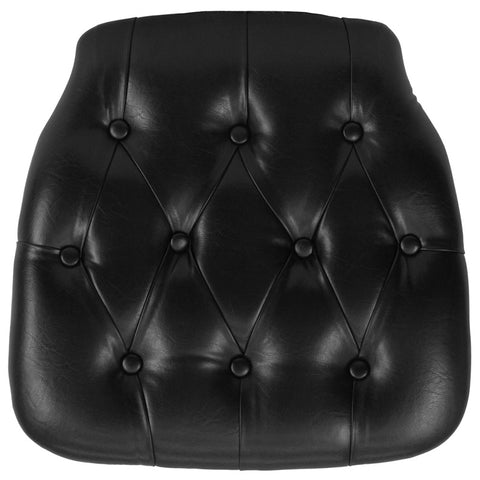 Hard Black Tufted Vinyl Chiavari Chair Cushion - Harvey & Haley