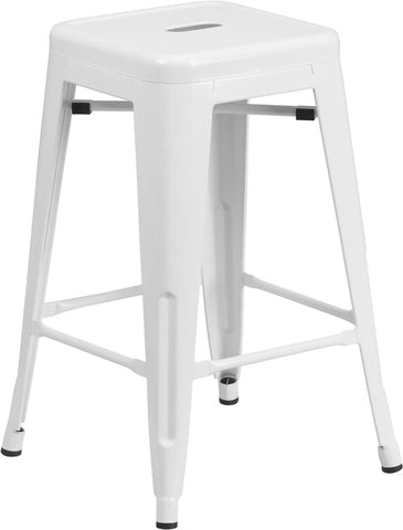 24'' High Backless White Metal Indoor-Outdoor Counter Height Stool with Square Seat - Harvey & Haley