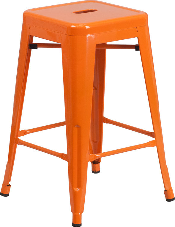24'' High Backless Orange Metal Indoor-Outdoor Counter Height Stool with Square Seat - Harvey & Haley
