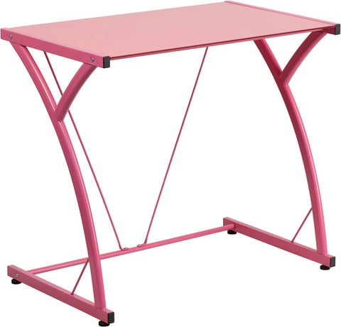 Contemporary Tempered Pink Glass Computer Desk with Matching Frame - Harvey & Haley