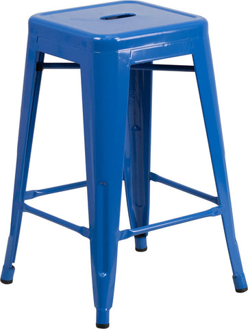 24'' High Backless Blue Metal Indoor-Outdoor Counter Height Stool with Square Seat - Harvey & Haley