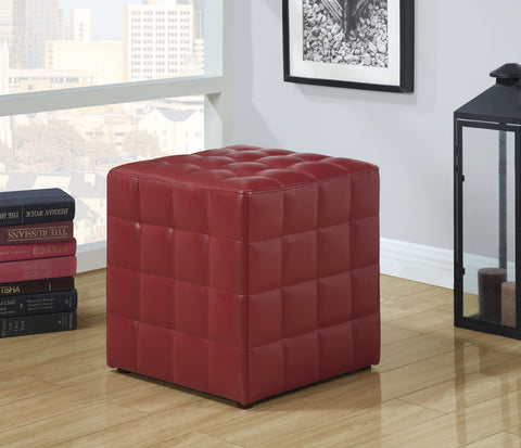 Monarch Specialties Leather-Look Ottoman, Red - Harvey & Haley