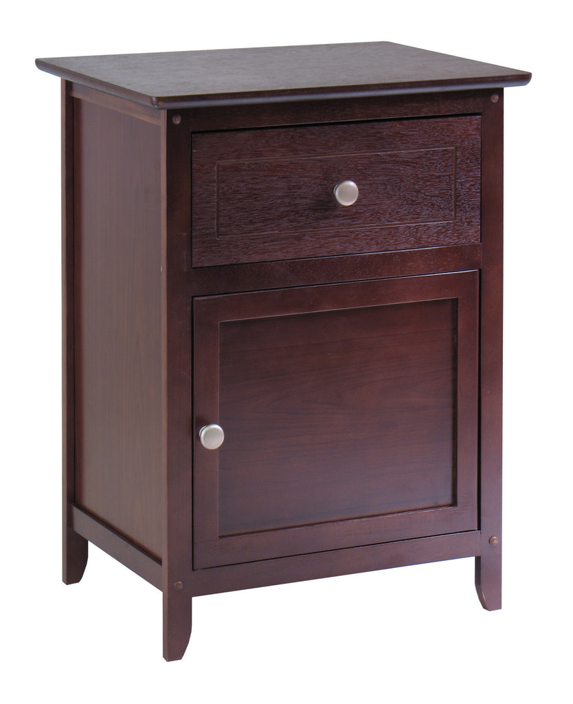 Winsome Wood Night Stand/ Accent Table with Drawer and Cabinet for Storage, Antique Walnut - Harvey & Haley