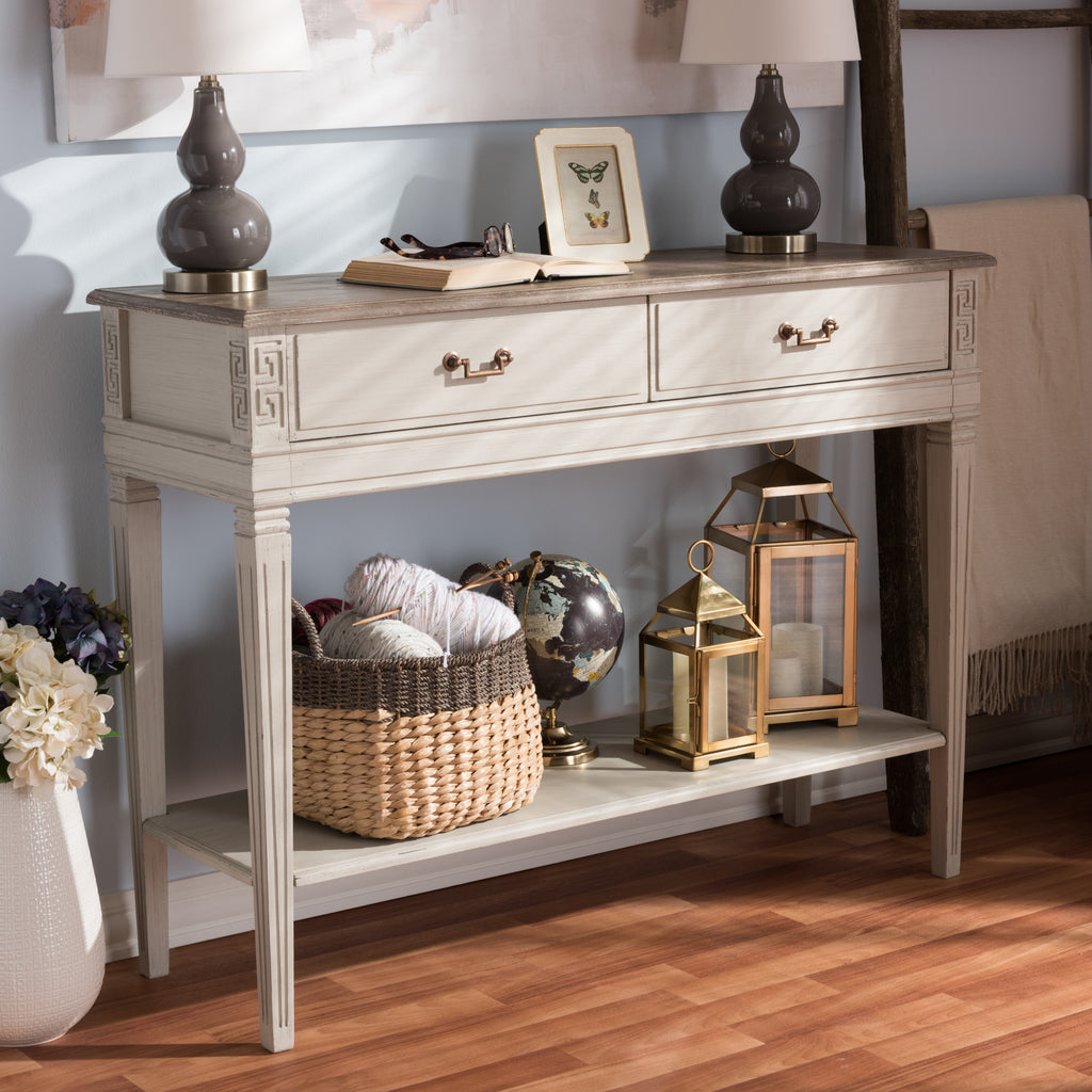Shop for coffee accent tables at harvey haley console tables baxton studio arte french provincial style weathered oak and white wash distressed finish wood two geotapseo Choice Image