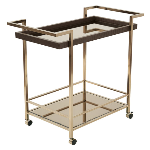 OSP Designs Isabella Wine Cart with Bronze Glass top in Champagne Metal Frame - Harvey & Haley