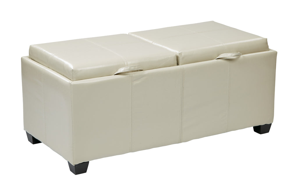 INSPIRED by Bassett Bedford Storage Ottoman With Dual Trays and seats in Cream Bonded Leather - Harvey & Haley