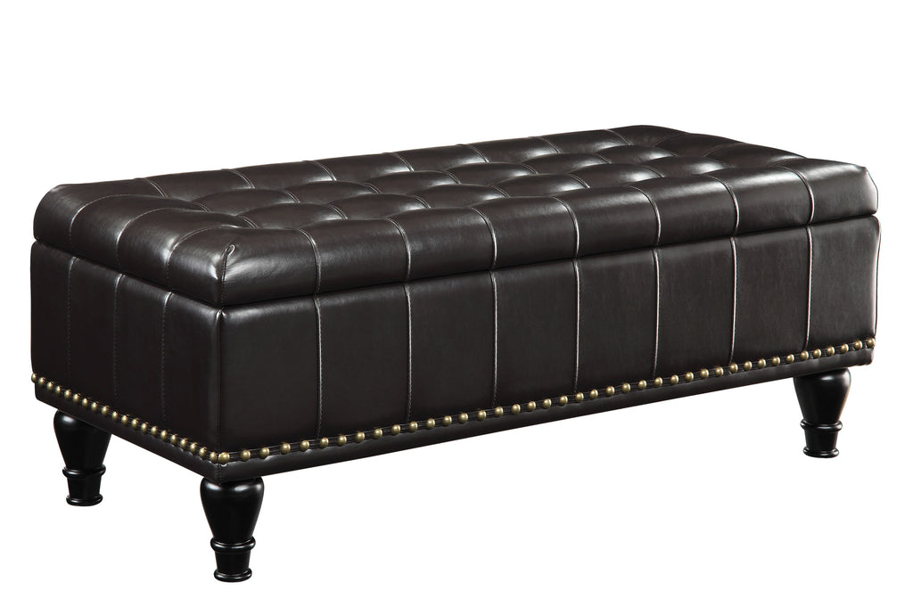 INSPIRED by Bassett Caldwell storage ottoman, Espresso Bonded Leather - Harvey & Haley