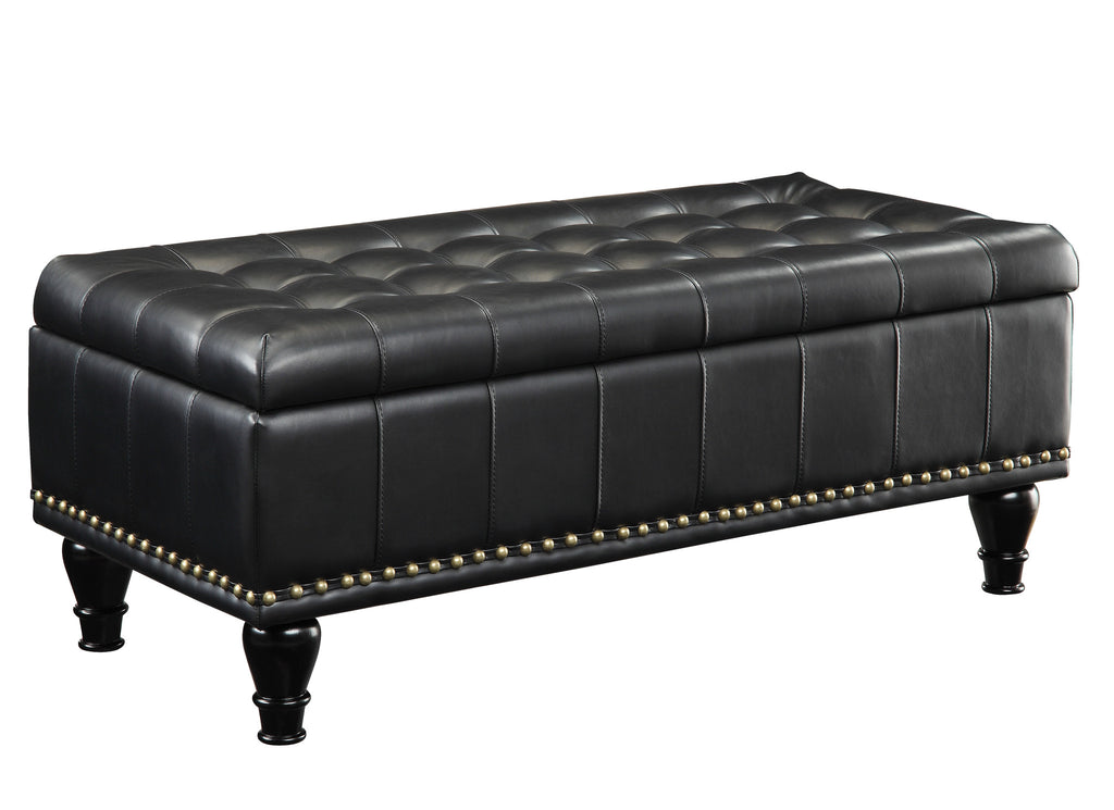 INSPIRED by Bassett Caldwell storage ottoman, Black Bonded Leather - Harvey & Haley
