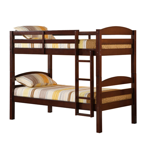 "Twin Solid Wood Bunk Bed (Espresso) (65""H x 80""W x 42""D) - Harvey & Haley  - 1"