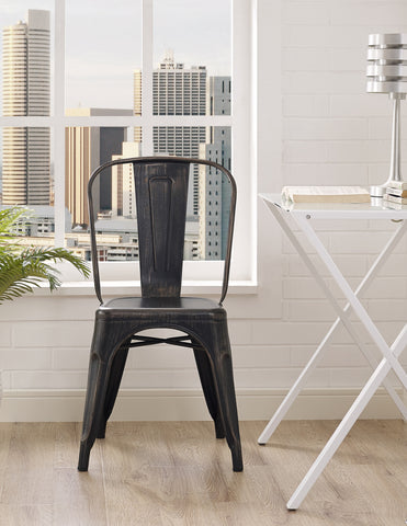 Metal Café Chair - Antique Black - Harvey & Haley  - 1