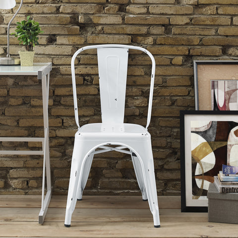 Metal Café Chair - Antique White - Harvey & Haley  - 1