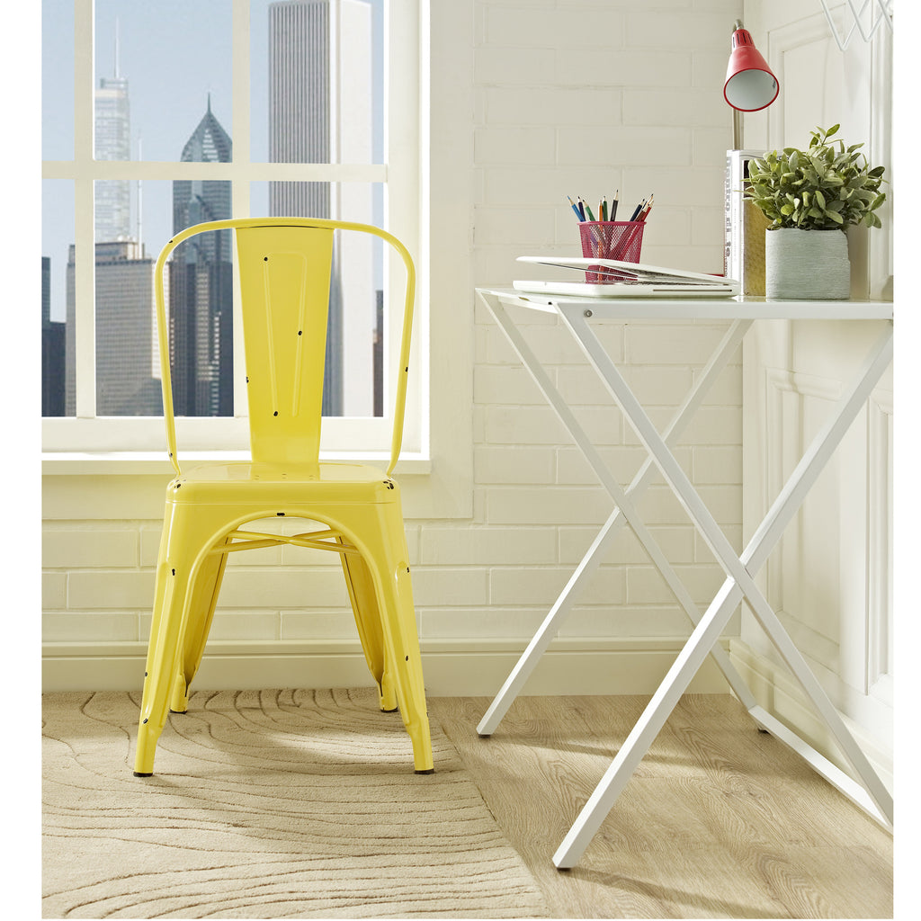 Metal Café Chair - Antique Yellow - Harvey & Haley  - 1