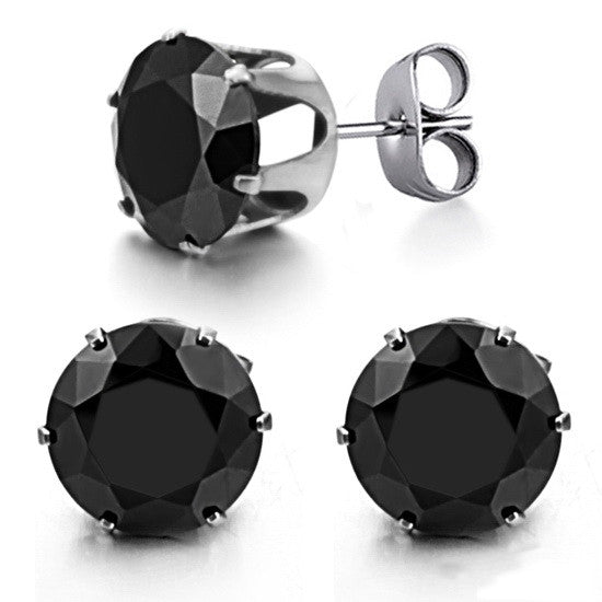 Ms han edition jewelry delicate zircon titanium steel stud earrings-Size 10mm - Harvey & Haley  - 1