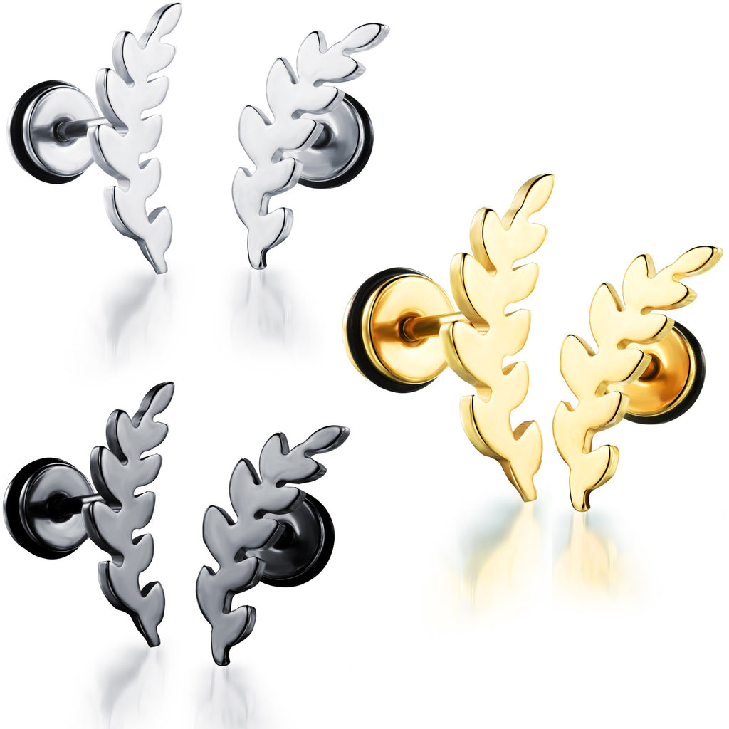 Titanium steel ear nials Leaves screw ear nails Lady's ear ornaments-Color White