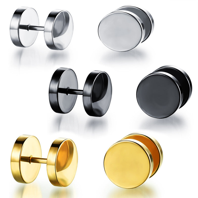 Man's titanium steel ear nails personal and concise Round dumbbell-Color Black - Harvey & Haley  - 1