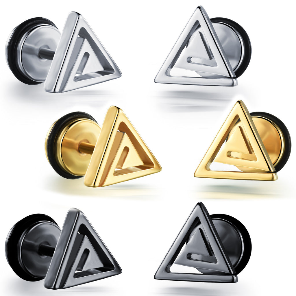 Man's titanium steel ear nails triangle screw stud ear nails Boyfriend's ear ornaments.-Color Black - Harvey & Haley  - 1