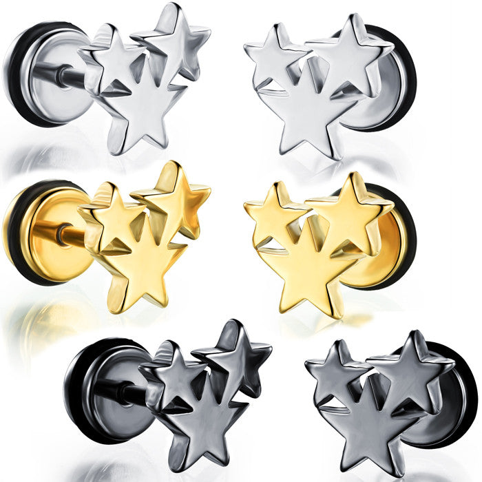 Man's titanium steel ear nails personal and concise Pentagram Ear ornaments-Color gold - Harvey & Haley  - 1